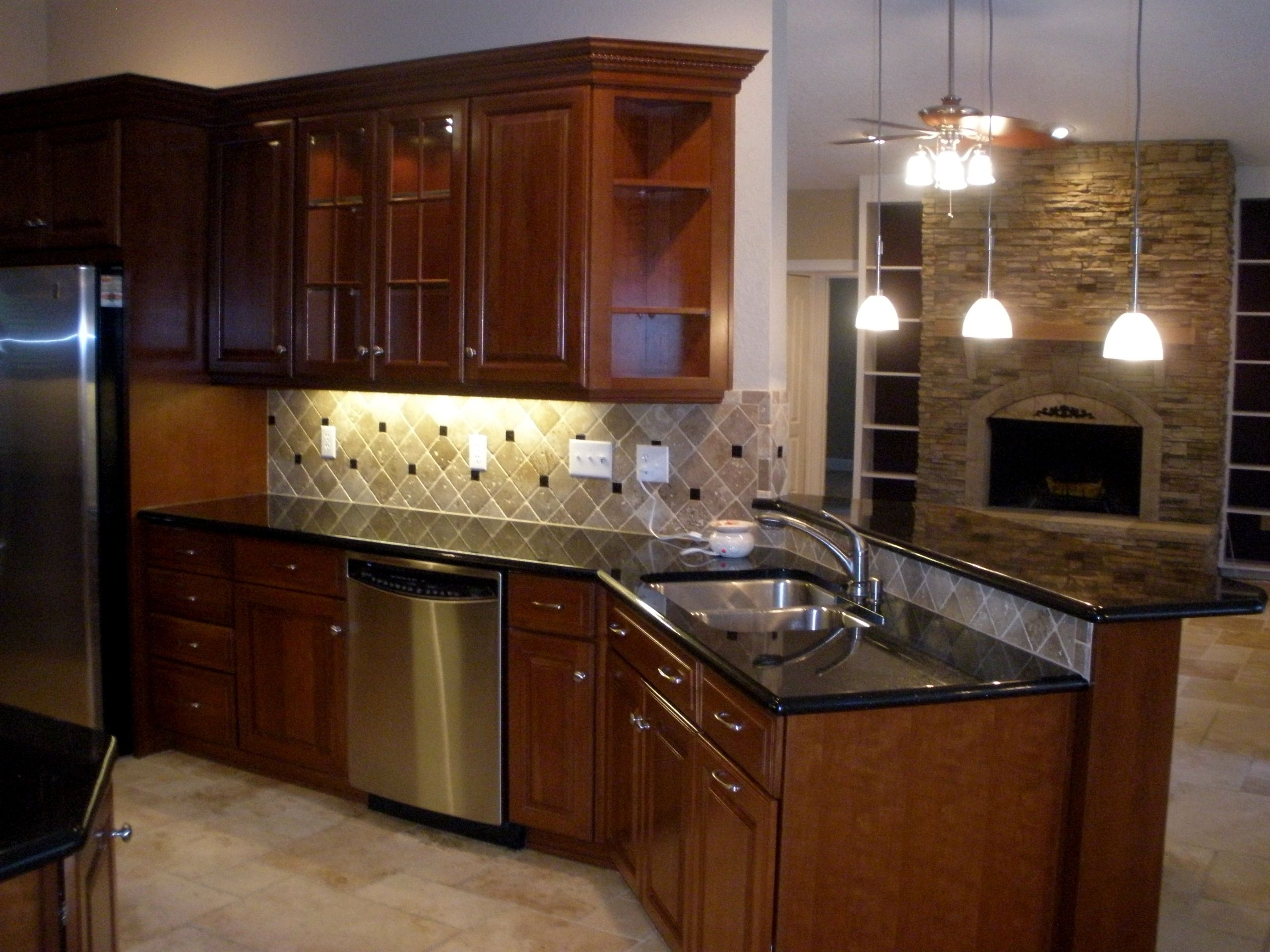 Cherry wood cabinets with granite counter top | Real Estate | Pinterest