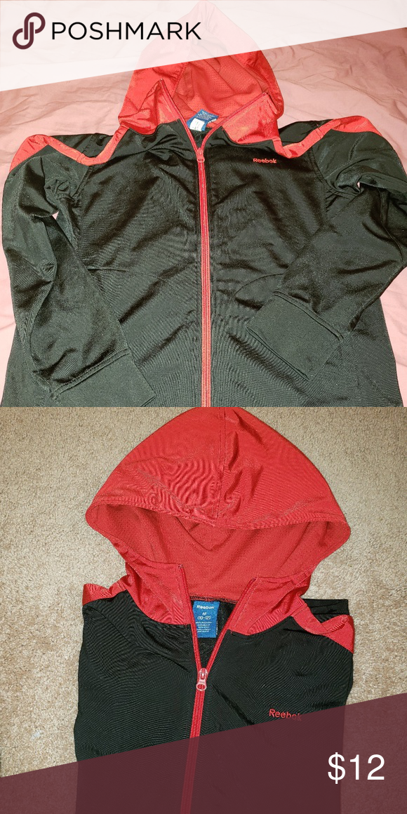 bb1c9171 Boy's lightweight Reebock zip up hoodie Black with red trim ...
