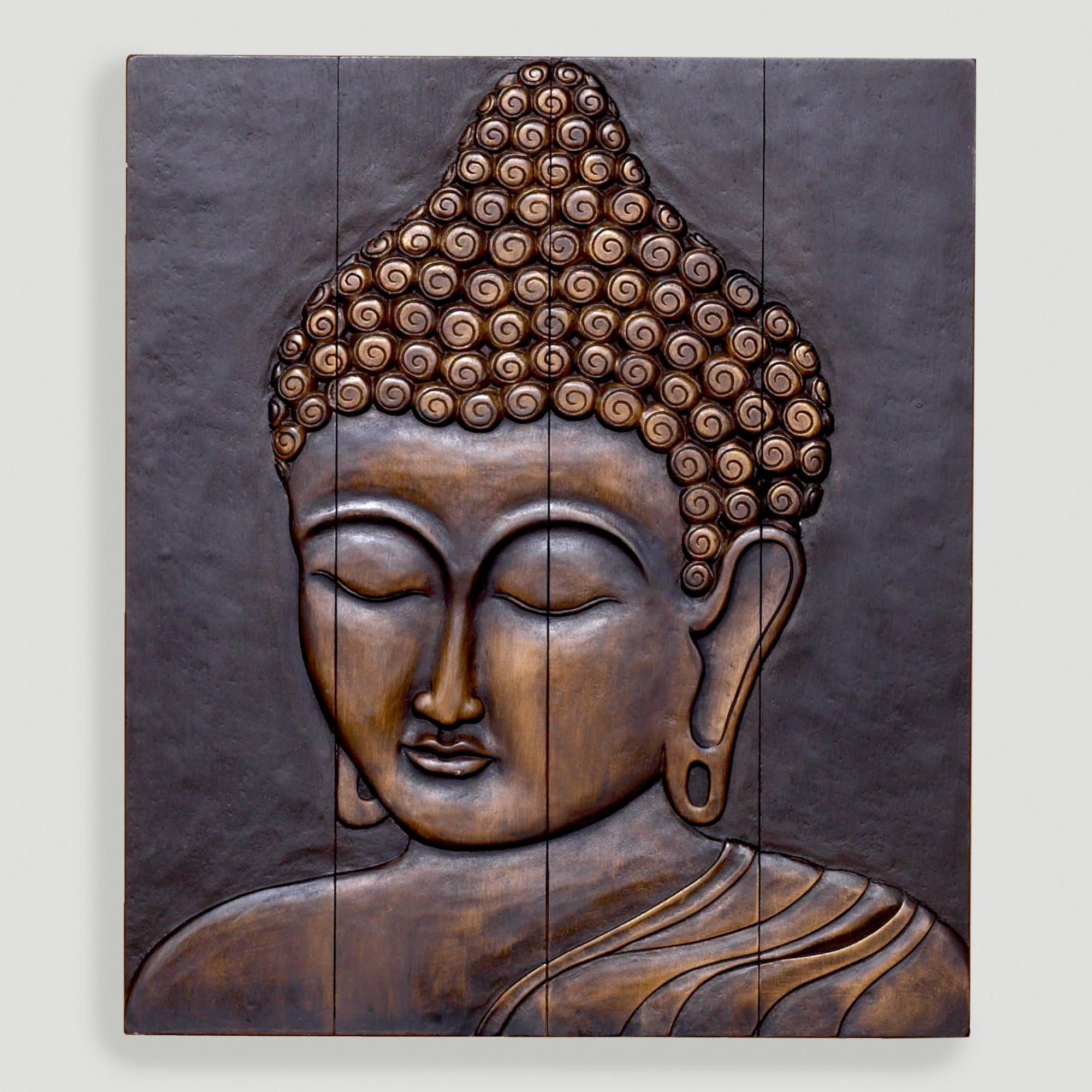 Buddha Face Wall Hanging, Wood - World Market
