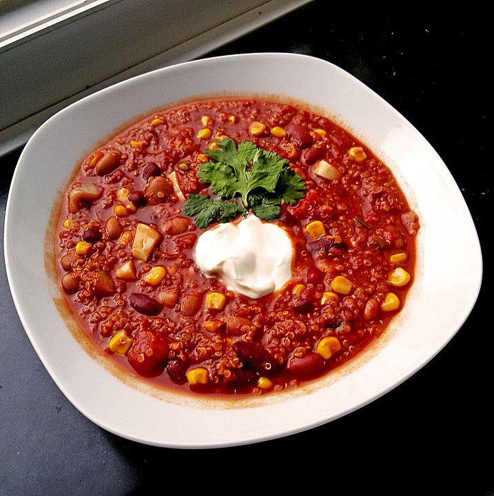 Chili con Quinoa, ein gutes Rezept aus der Kategorie INFORM-Empfehlung. Bewertungen: 34. Durchschnitt: Ø 4,5.