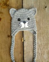 Crochet Cat Hat baby kitty toddler cat hat cat hat by kylieyoung1