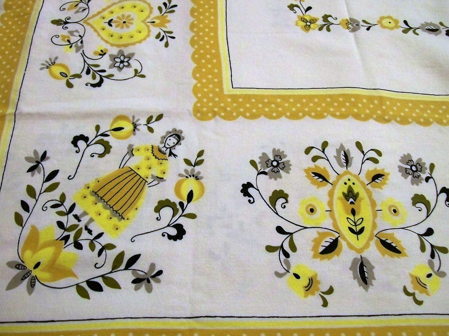 Tablecloth with Folk Art, Vintage Tablecloth, Yellow Black Gray ...