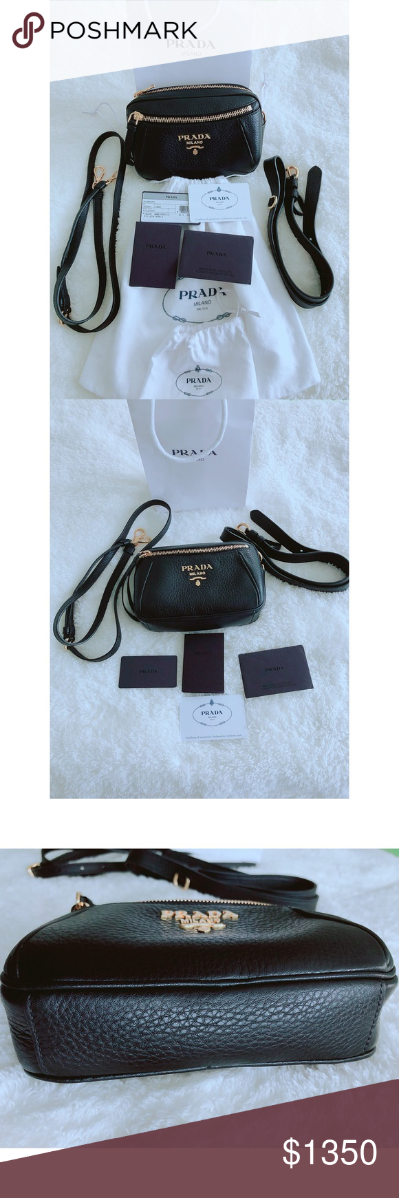 974e530d31dc Prada Belt bag Daino Crossbody Black Two way Prada bag •Can be worn as a  Crossbody with the Crossbody leather strap and as a belt with the belt  leather ...