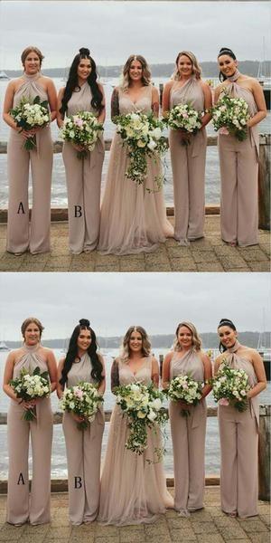 Sleeveless Halter Long Chiffon Bridesmaid Jumpsuit,Cheap Bridesmaid Dresses,WGY0348