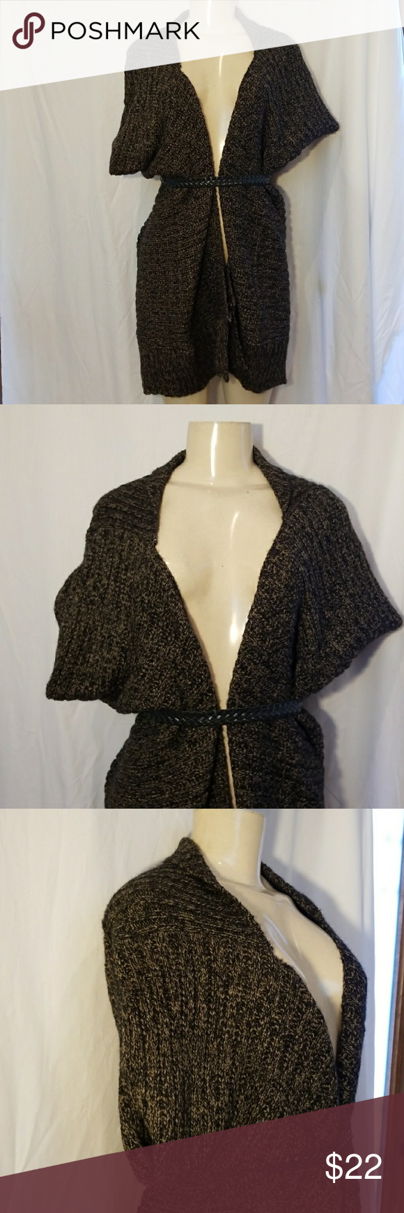 New! Black and Brown knitted shrug cardigan