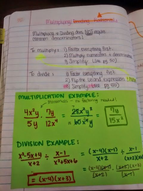Algebra 2 Interactive Notebook Pages Galore Rational Expressions Teaching Math Studying Math Dividing by monomials worksheet 2