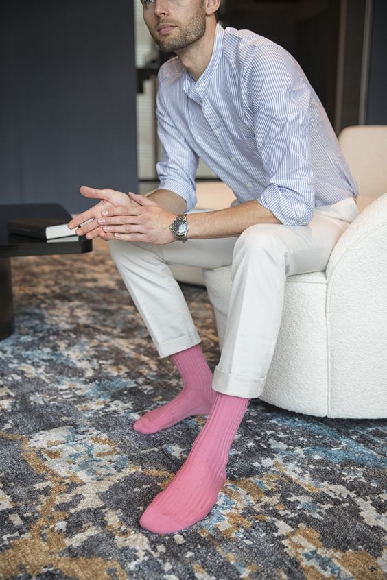 18 Ways To Incorporate Pink Into Your Wardrobe is part of Mens pink socks, Mens dress socks, Mens socks fashion, Dress socks, Mens leotard, Sexy socks - Can you believe it's 2019 and there are still men out there that refuse to wear pink because it's considered, well, feminine  Even stranger than that, most people probably don't …