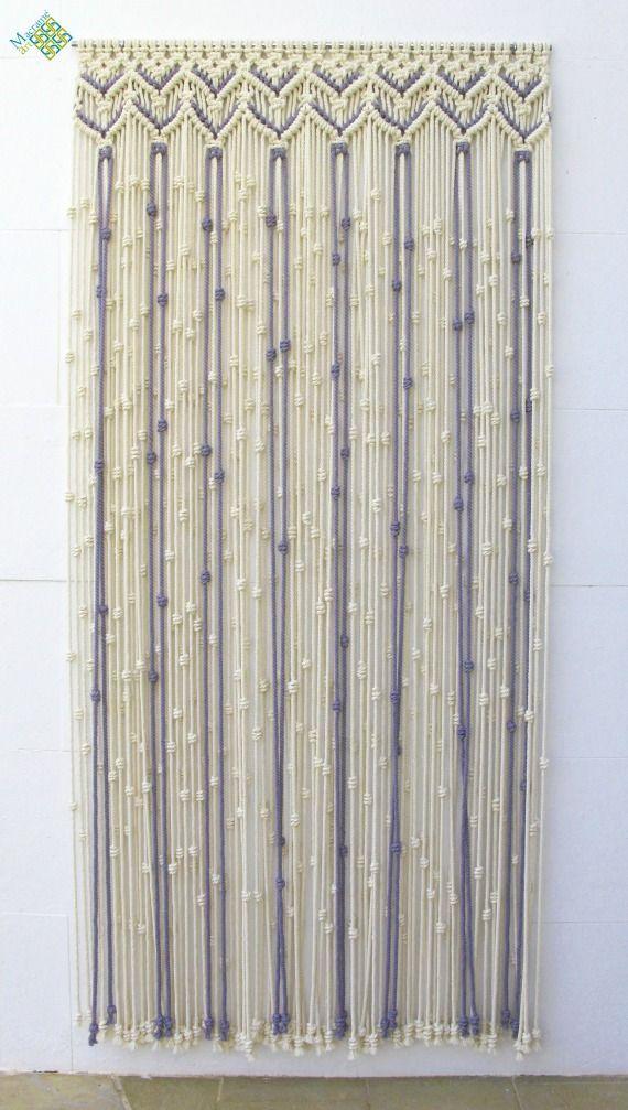 Cortina de macram para puerta realizada en dos colores for Cortinas decorativas para puertas
