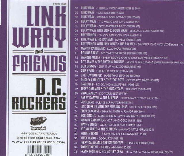 ♫'''...Link Wray & Friends: D.C. Rockers...☺...'''♫  Read more at: https://www.bear-family.com/various-link-wray-und-friends-d.c.-rockers.html Copyright © Bear Family https://www.bear-family.com/various-link-wray-und-friends-d.c.-rockers.html