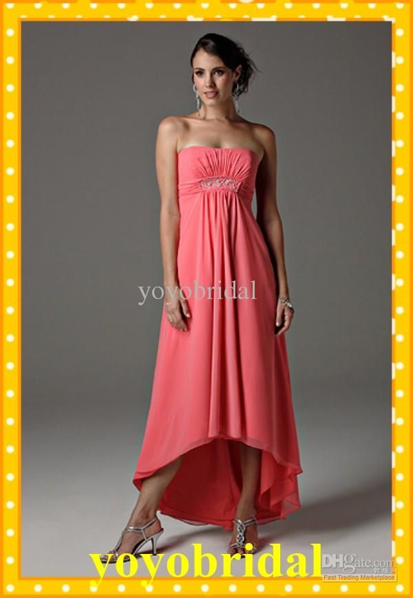 5a7859580fbd Wholesale Custom Coral High Low Bridesmaid Dresses Strapless Beaded Chiffon  Pleated Formal Prom Evening Dress, Free shipping, $84.0-100.8/Piece | DHgate