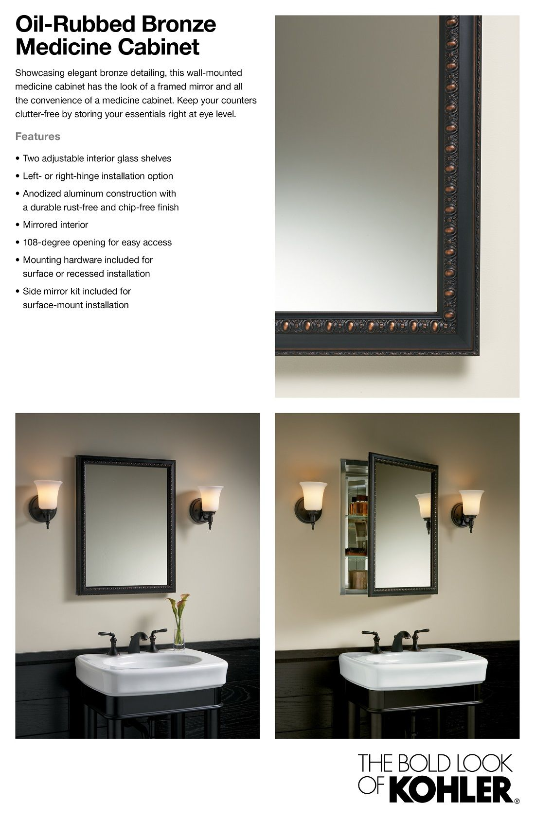 Kohler 20 In X 26 In H Recessed Or Surface Mount Mirrored