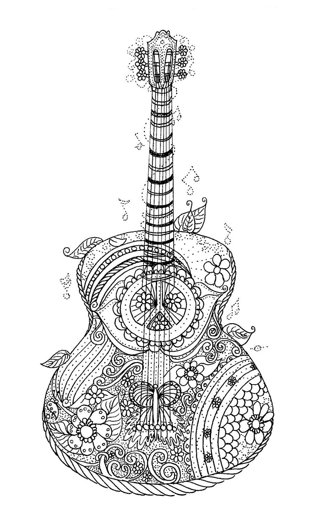 Adult Coloring Page Printable Adult Violin Coloring Poster
