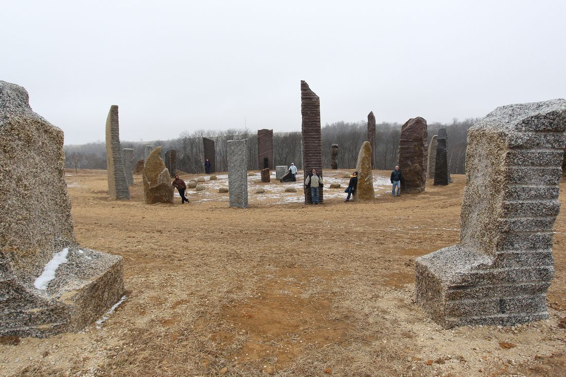 Kinstone Circle with people among the stones to give a bit of a size perspective - facing west.