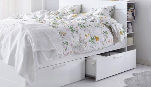 bettgestell mit schubladen wei serie brimnes new room new hood. Black Bedroom Furniture Sets. Home Design Ideas