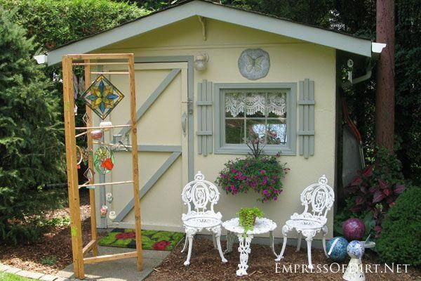 Tiny yellow garden shed - see more creative garden shed ideas at