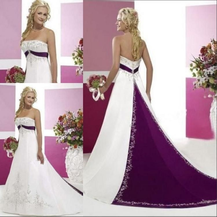 Purple And White 2015 A Line Wedding Dresses With Strapless Sleeveless Pastels Stain Plus Size