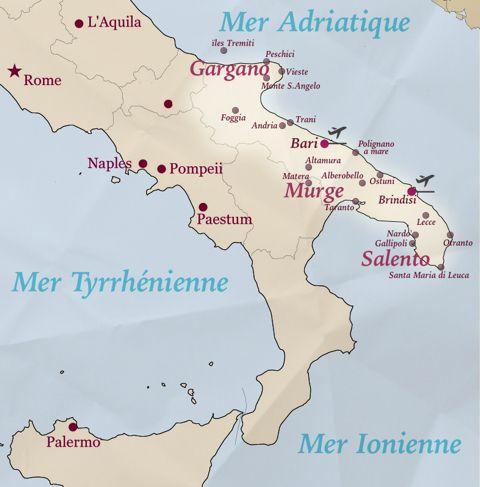 Carte Italie Ostuni.Voyage Pouilles Carte Des Pouilles Sejour Circuits Logements