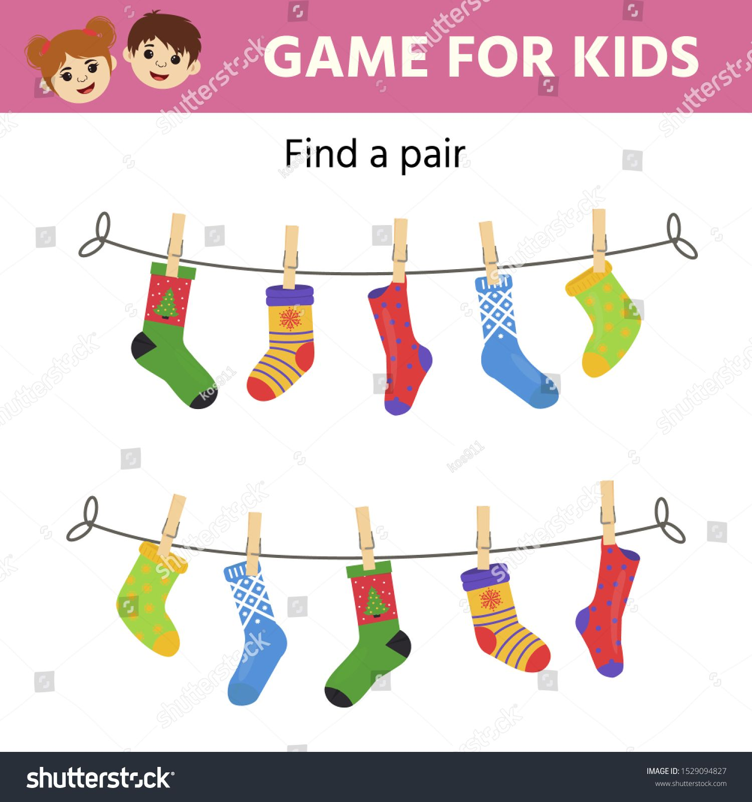 Game For Children Find A Pair Of Matching Socks