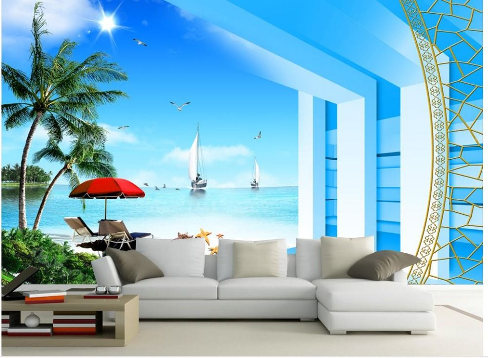 la naturaleza del papel pintado 3D Seaview foto de la playa de