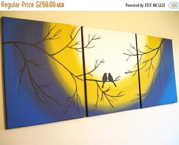 extra large wall art triptych huge triptych hanging Love Birds ...