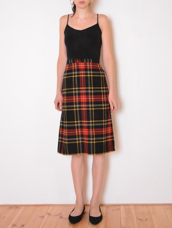 47c3e89ad9cb 80's tartan skirt, wool red black yellow high waisted plaid pencil skirt,  schoolgirl, preppy, retro Twin Peaks vintage skirt medium