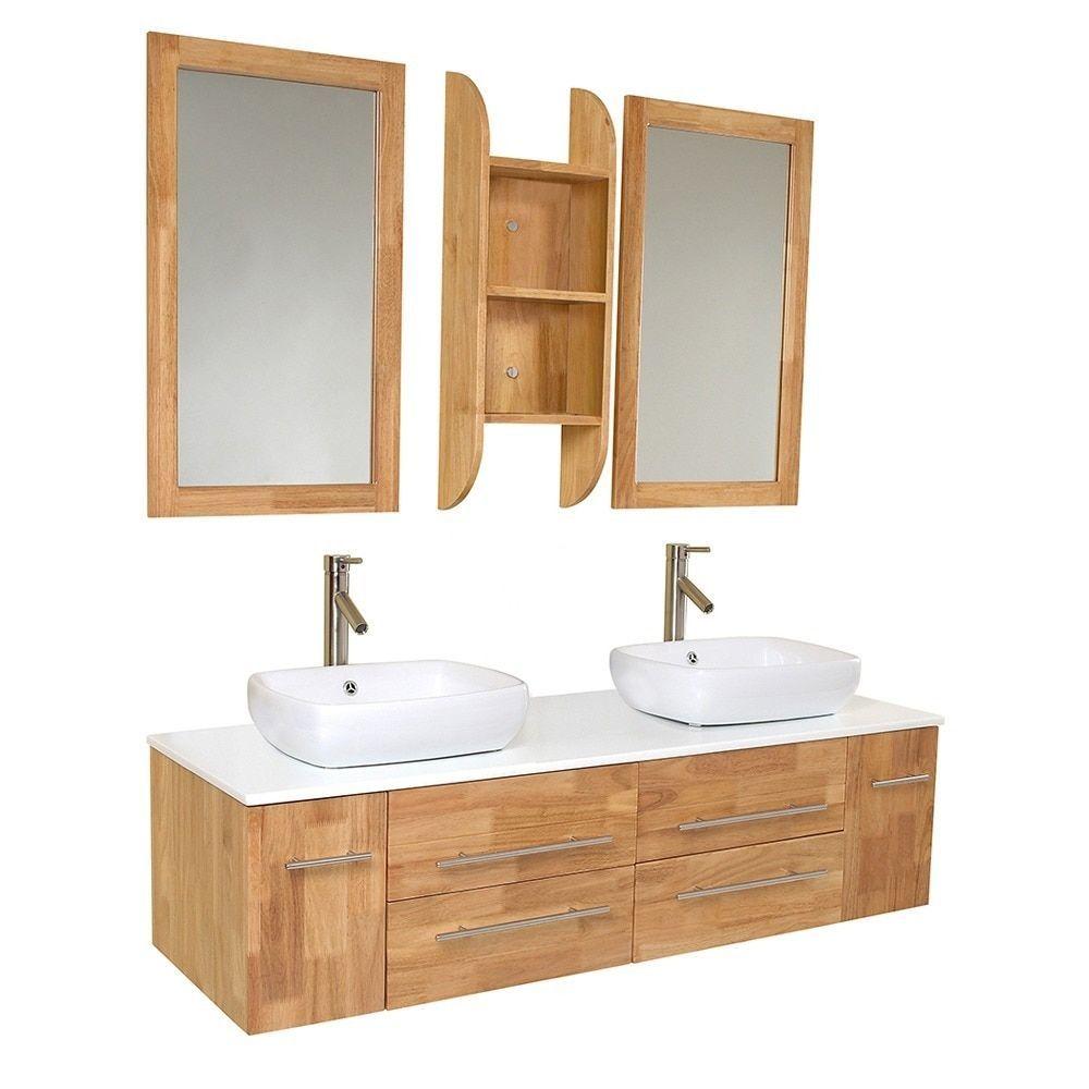 Fresca Bellezza Wood Double-vessel Sink Bathroom Vanity, Grey