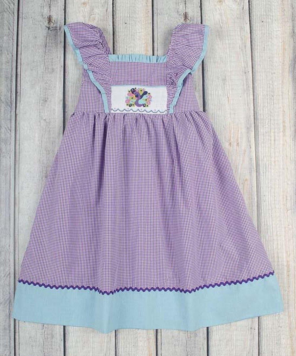 33b7d73551e6 Look at this Stellybelly Purple Gingham Peacock Smocked Jumper Dress -  Infant, Toddler & Girls on #zulily today!