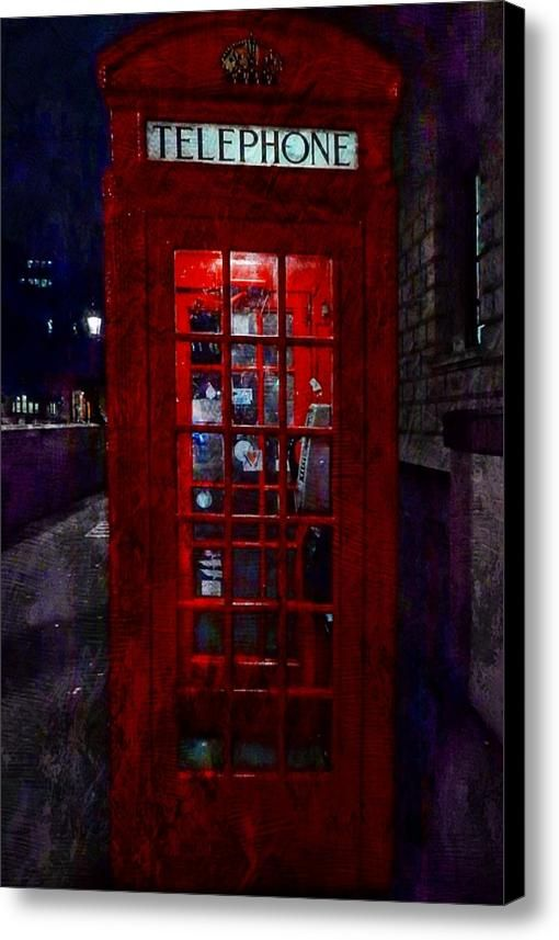 Night Call Canvas Print / Canvas Art By Dorothy Berry-lound  #redtelephonebox #london  #interiordecor #printforsale