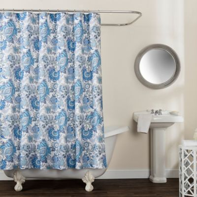 Avignon Floral 72 X 84 Shower Curtain In Blue Floral Shower