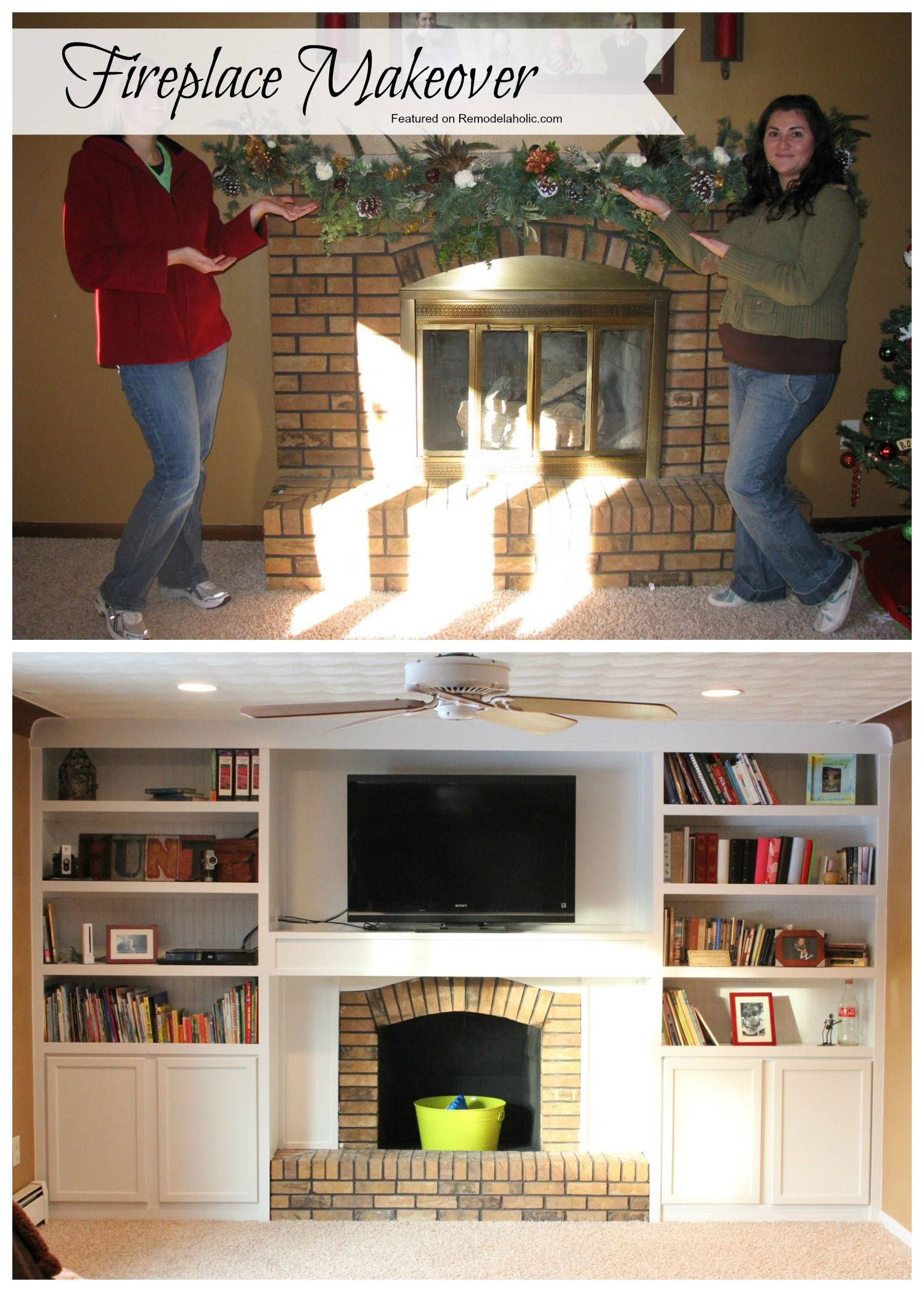 Fireplace makeover adding built ins using stock cabinets as the