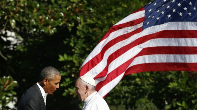 Barack Obama e papa Francisco na Casa Branca (Foto: Tony Gentile/Pool Photo/AP)