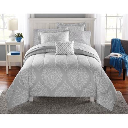 Mainstays Leaf Medal Bed In A Bag Bedding Set Walmart Com Bedding Sets Grey Grey And White Bedding Full Bedding Sets