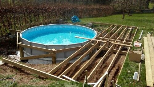 Pin By Brice On Piscine Intex Ultra Frame Enterree Et Terrasse En Bois Wooden Deck Inground Pool Diy Swimming Pool Pool Deck Plans Above Ground Pool Decks