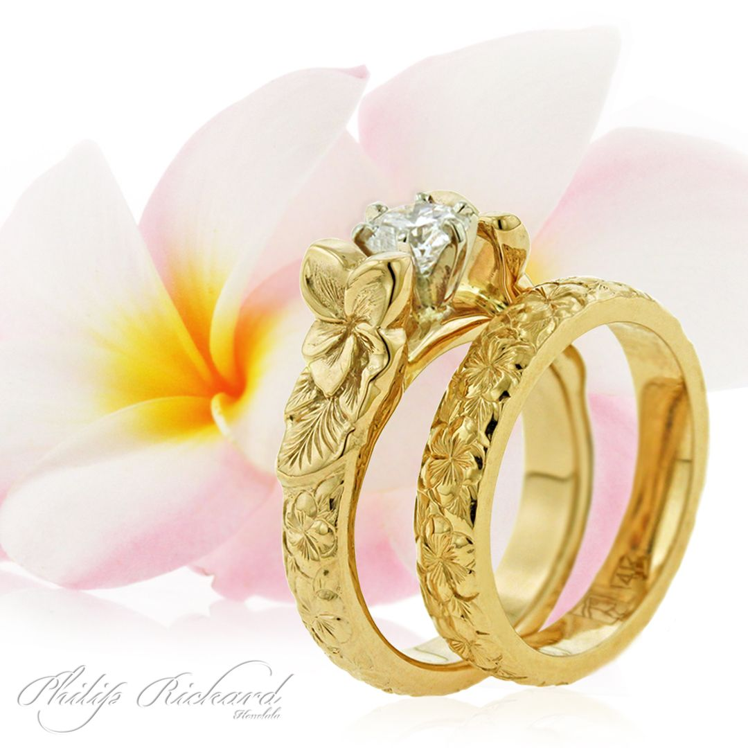 hawaiian wedding rings Hawaiian French Mount Collection Plumeria flower design engagement ring wedding band Hawaiian Wedding Jewelry