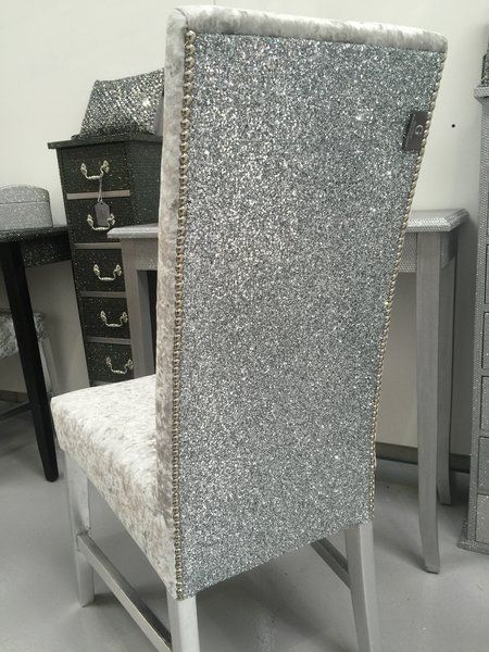 The Stunning Glitter Furniture Company Dining Room Chairs Silver Velvet