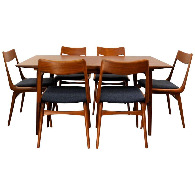 Vintage Alfred Christensen Boomerang Teak Dining Set Teak