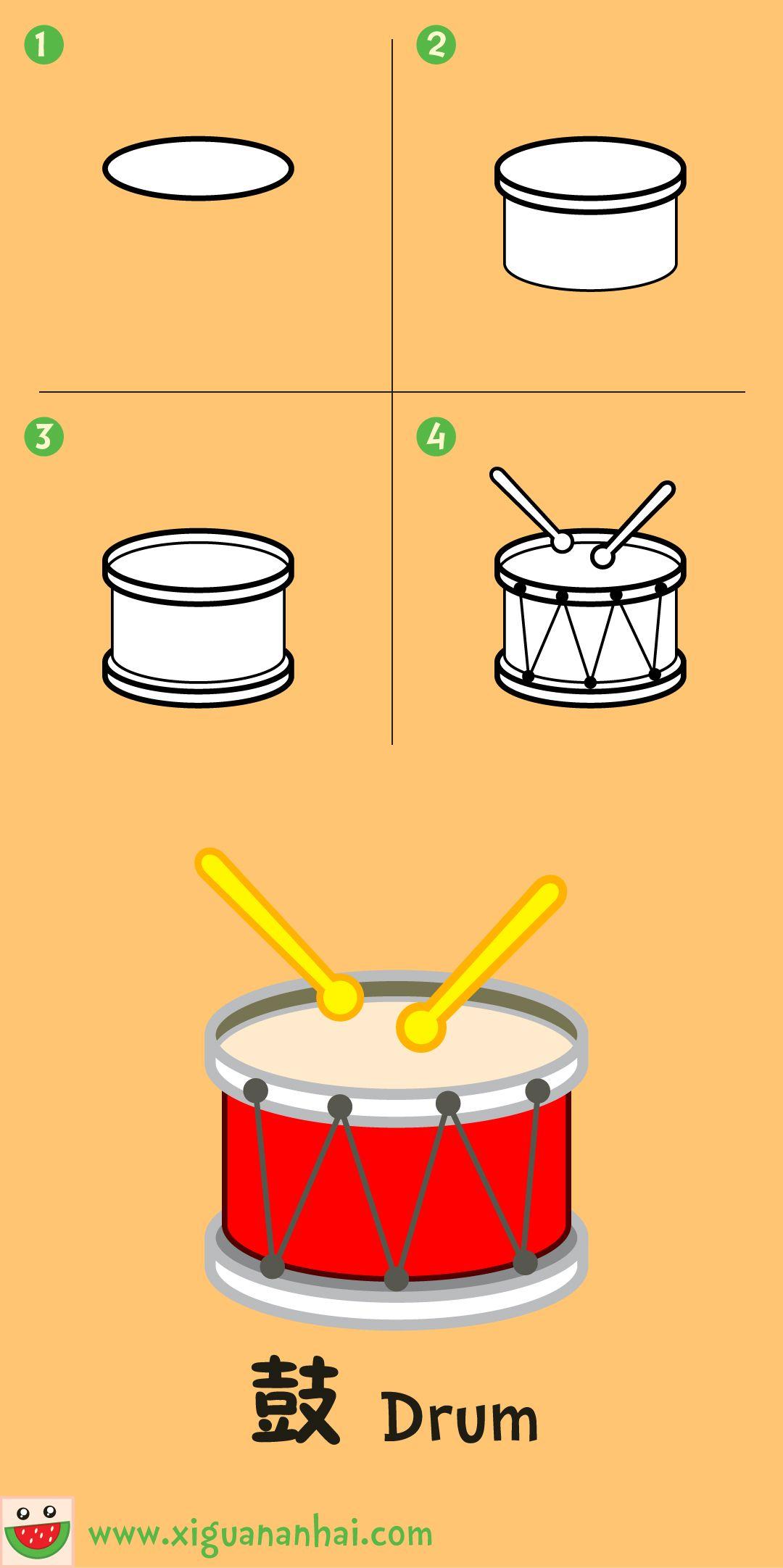 鼓 Drum Easy Christmas drawings Pinterest