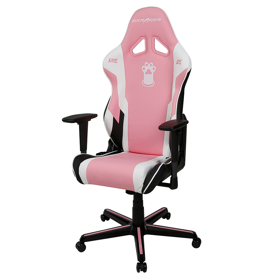 Pink Paw Print Conventional Gaming Chair PU Leather RZ95