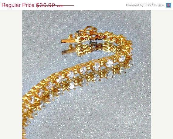 SPRING SALE Vintage Tennis Bracelet  Gold Over Sterling by waalaa, $26.34