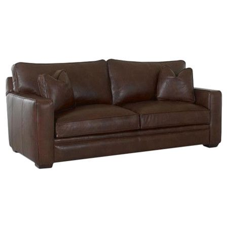 A handsome addition to your living room or den, this stylish sofa features sumptuous leather upholstery and classic wood legs. Made in the USA.