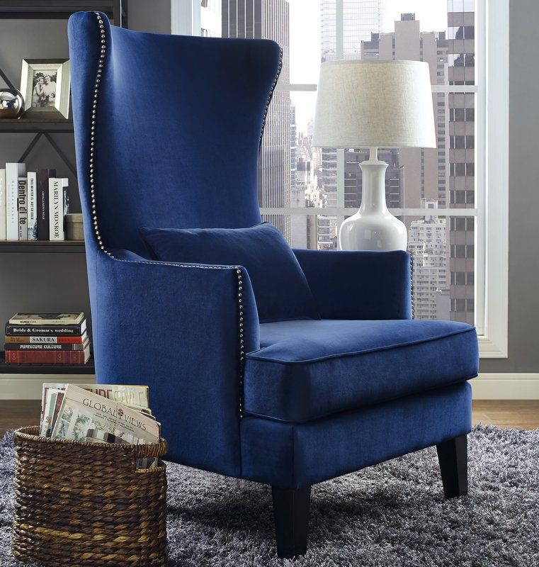 Jacinto Wingback Chair | High back accent chairs, Blue ...