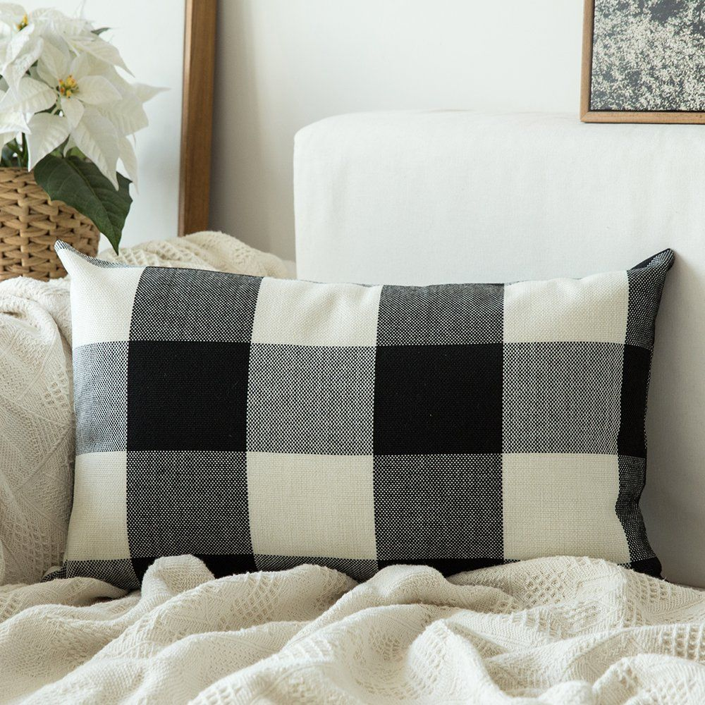 Bench with back decor in 2020 Plaid throw pillows