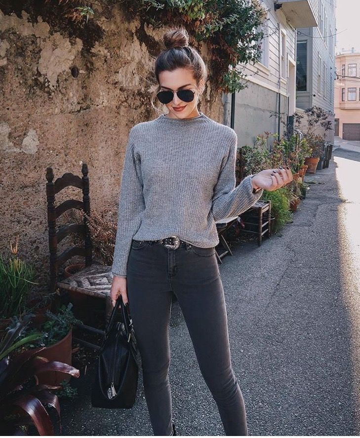 faded black jeans and a simple grey poloneck x  fashion