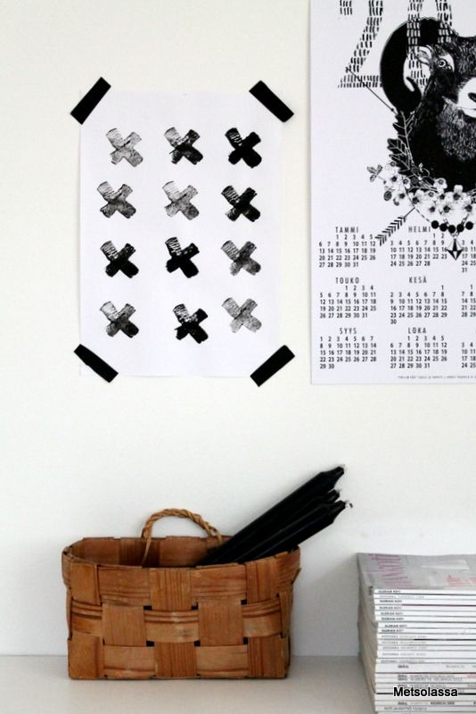 DIY- X-juliste,   Pässin päät- kalenteri Taulu ja Tapetti