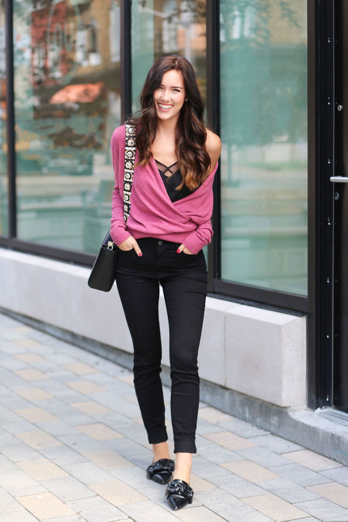 5263b8bfa36 how to style a wrap sweater in the fall (when it still feels like summer)   Off the shoulder with a tank top layered underneath!! Layering season is ON!