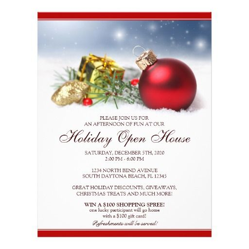 Festive Holiday Open House Flyer Template Open house, Flyer - christmas card word template