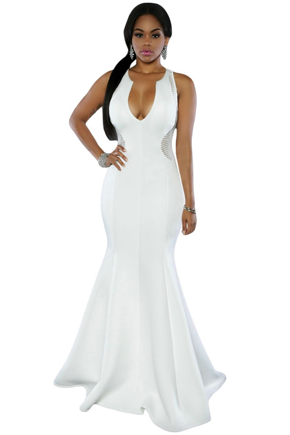 White mesh back accent mermaid dress products pinterest