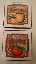 Finished RODGER JOHNSON Vintage ColorArt Crewel FARM FRESH Peaches & Apples -JCA