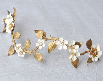 Tiara de novia perla cristal lado vintage de por JoannaReedBridal