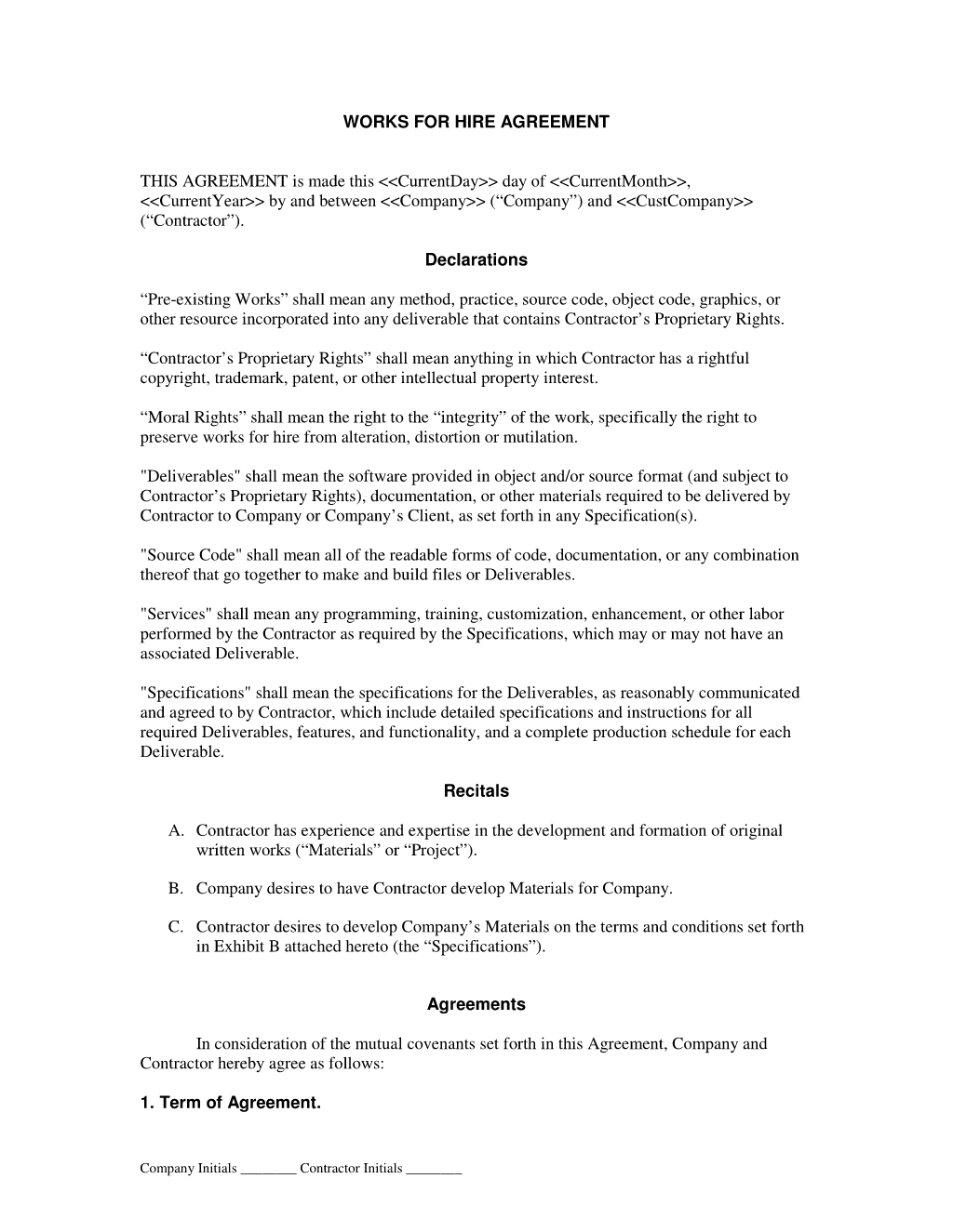 Works For Hire Agreement General Serviceproduct Contracts